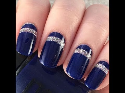 Gorgeous navy blue Color blocking nail art