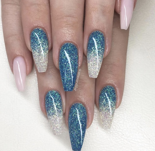 Gorgeous plane blue Glitter nail art