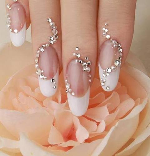 Gorgeous white gel Stones nail art