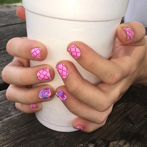 Hot pink purple print Tiles nail art