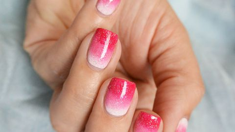 Hot pink sparkling Ombre nail art
