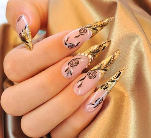 Large sharp golden Edgy nail art