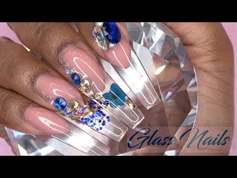 Large size gel blue Stones nail art