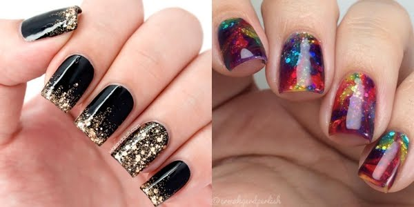 Latest black & colorful Glitter nail art