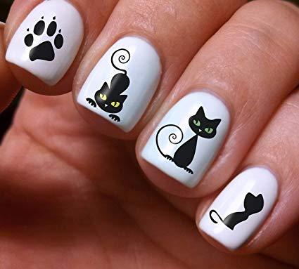 Latest black & white cat Animal print nail art