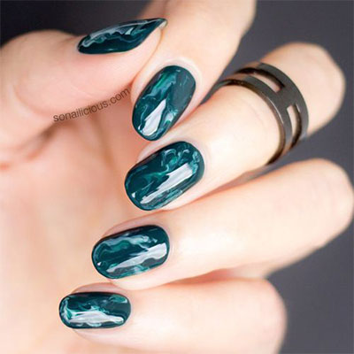 Latest bottle green Marble nail art