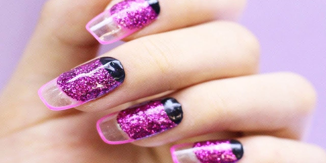Latest design in pink Glitter nail art