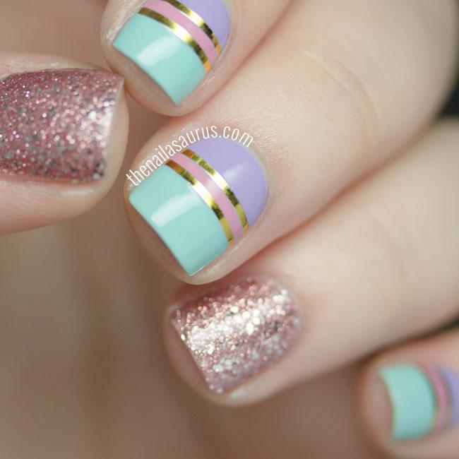 Latest glitter Color bloking nail art