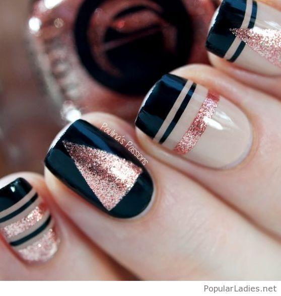 Latest golden & Navy blue Chevron design nail art