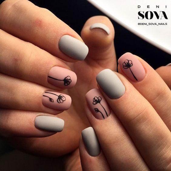 Latest grey pink flower print Matte nail art