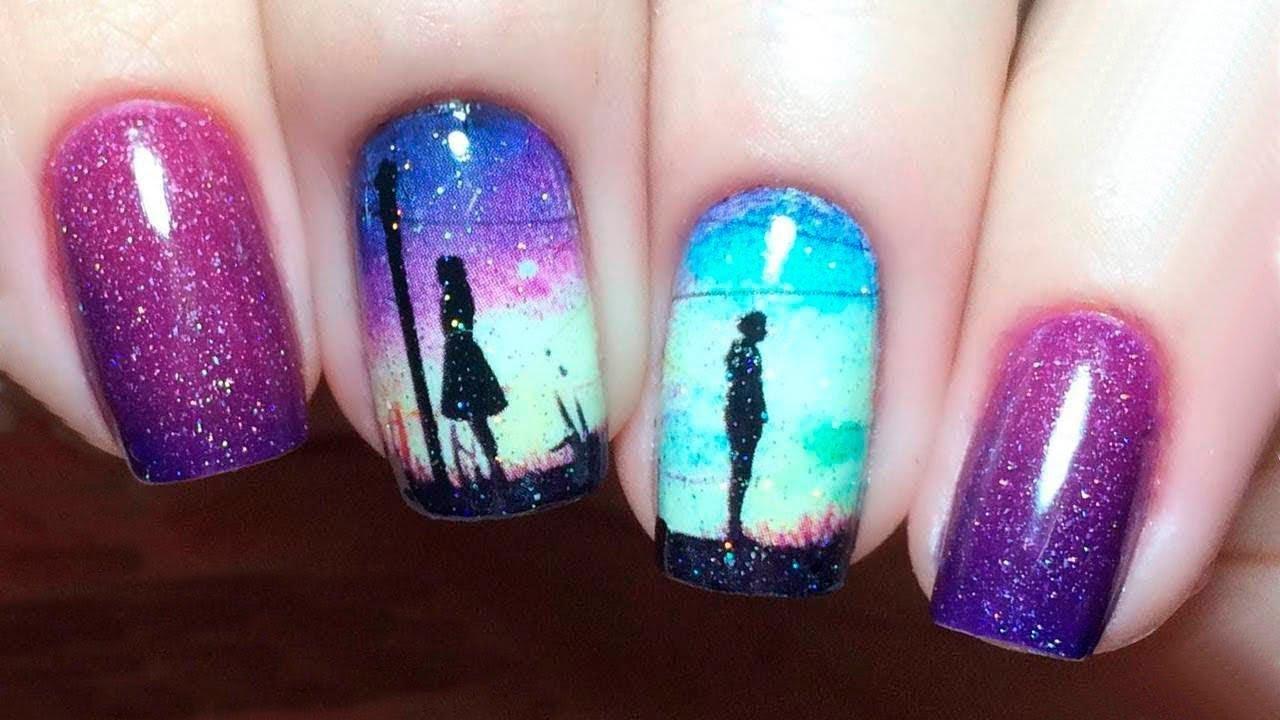 Latest heart touching purple, pink & sky blue design Classy nail art