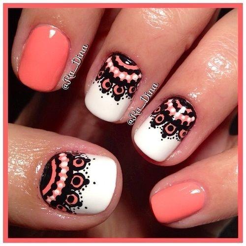 Latest peach dress Contrast nail art