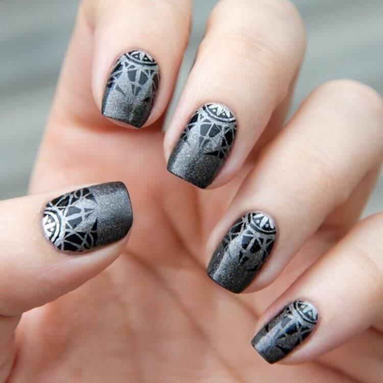 Latest premium grey print Classy nail art
