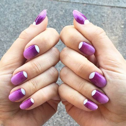 Latest purple and white moon design Ombre nail art