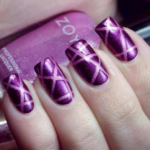 Latest purple glitter Stripe nail art