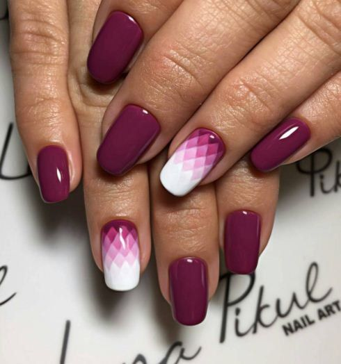 Latest purple shade design Ombre nail art