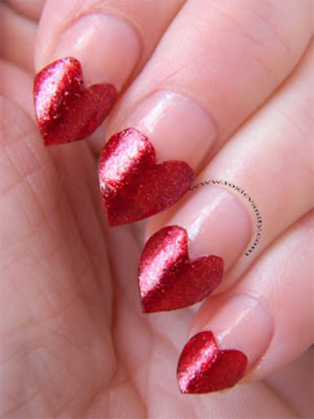 Latest red Heart nail art