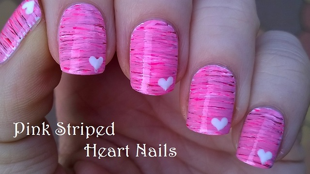 Latest striped Heart nail art