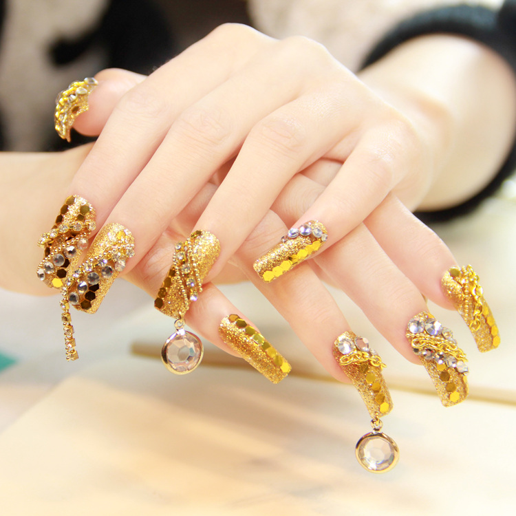 Latest wedding golden glitter Stones nail art