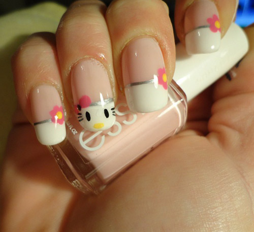 Latest white Hello kitty nail art