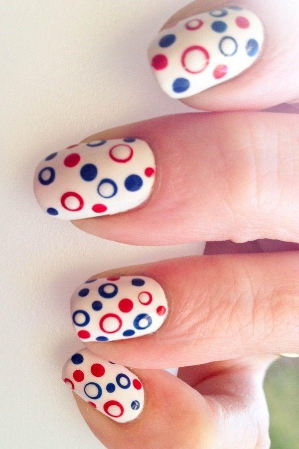 Latest white blue red round Polka dots nail art