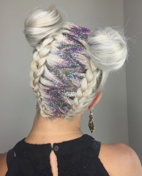 Latest white hair sparkling braid Bun Hairstyle