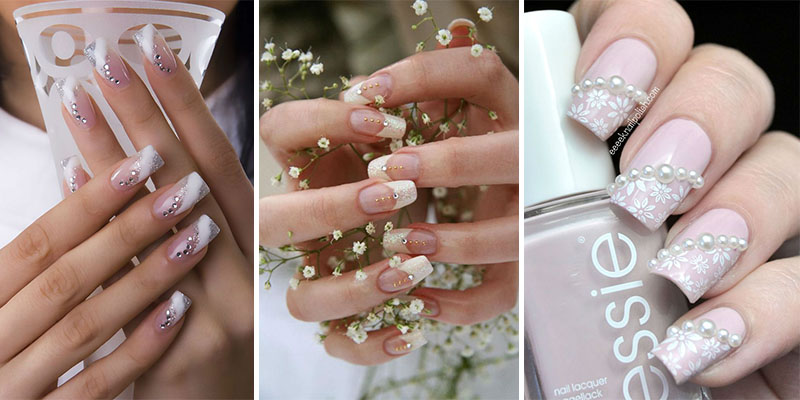 Latest white stone gel Wedding nail art