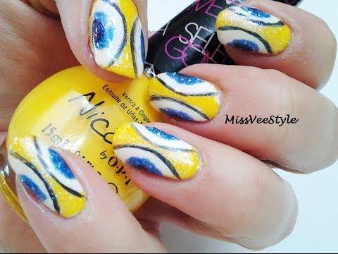 Latest yellow blue design Tiles nail art