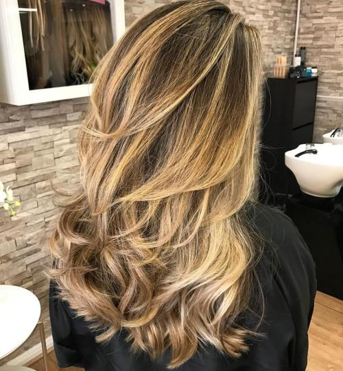 Long golden style for party Layer Hairstyle