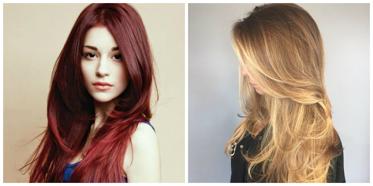 Long red golden style girlish Layer Hairstyle