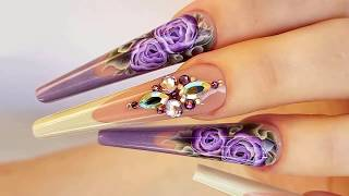 Long sized purple Edgy nail art