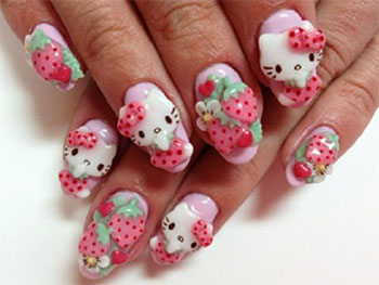 Lovely Pink Sticker Hello kitty nail art