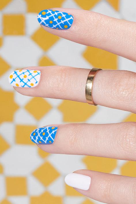 Lovely blue yellow white pattern Tiles nail art