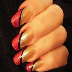 Lovely center cut Color blocking nail art