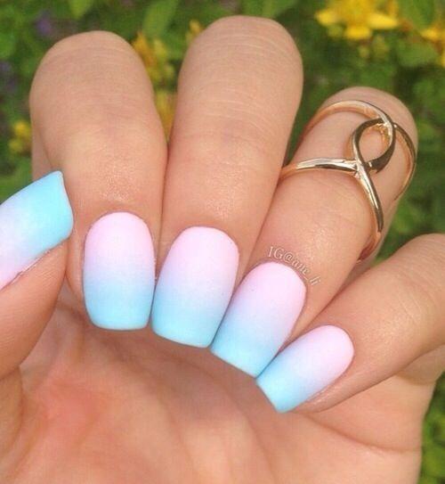 Lovely combo pink & blue Matte nail art