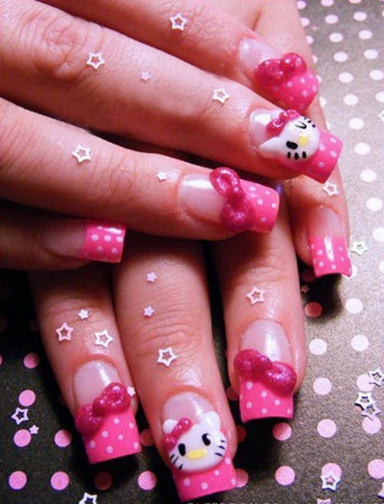 Lovely girlish pink Hello kitty nail art