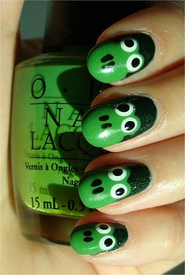 Lovely green frog Animal print nail art