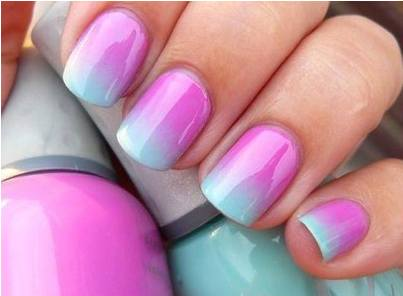Lovely pink & sky blue Ombre nail art