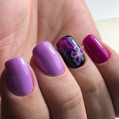 Lovely purple design Three color nail art