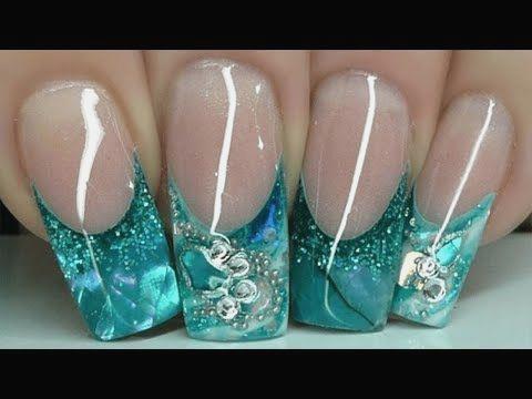 Lovely under water blue Glitter nail art