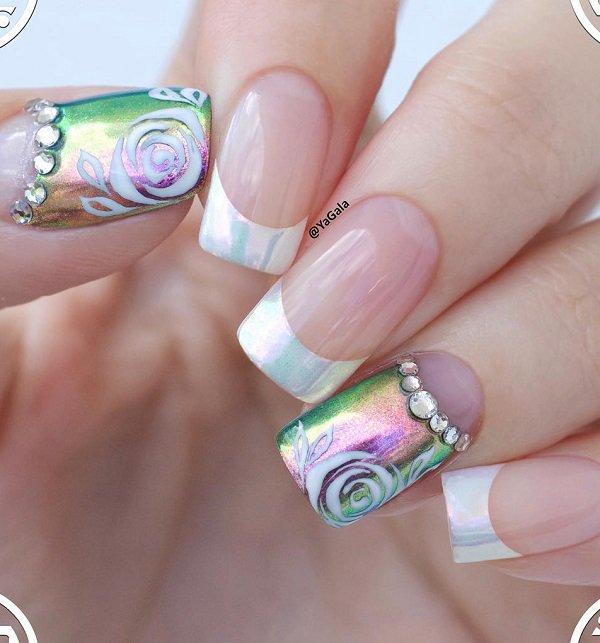 Lovely white gel stones Classy nail art