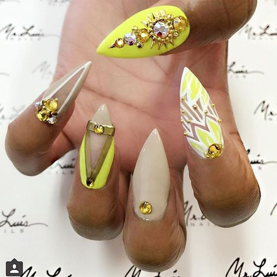 Lovely yellow white sharp Stones nail art