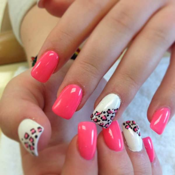 Mind blowing pink white design Three color nail art