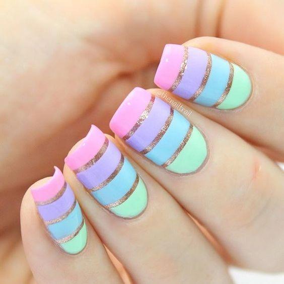 Mind blowing Pink purple blue golden Stripe nail art