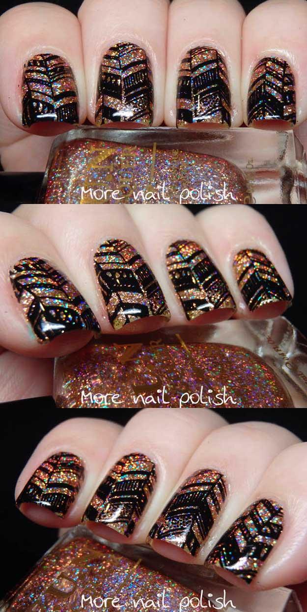 Mind blowing glitter Chevron design nail art