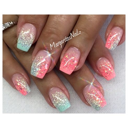 Mind blowing peach and neon glitter Ombre nail art
