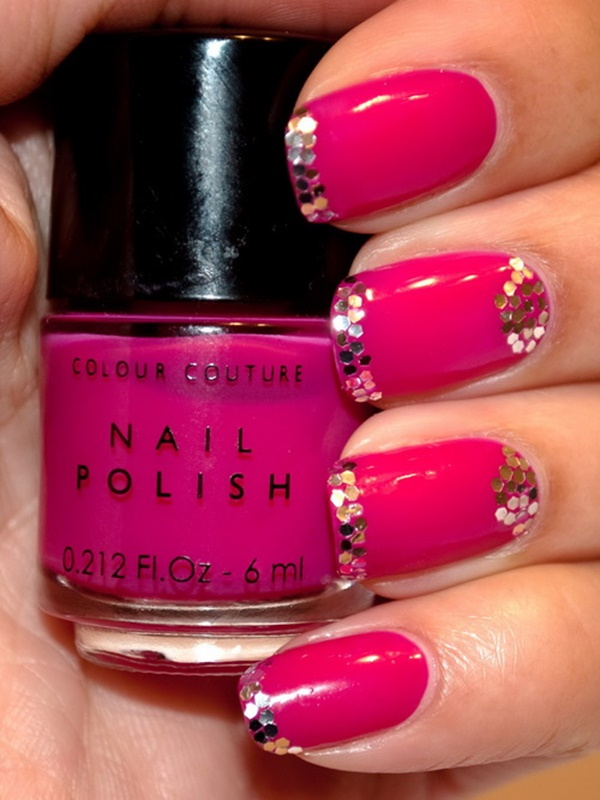 Mind blowing pink sparkling Color blocking nail art