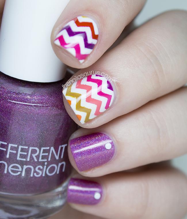 Mind blowing two finger Chevron design nail art