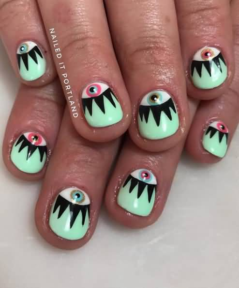 New Eyes color combi Contrast nail art