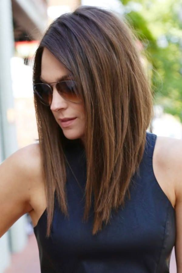 New back short front long style Layer Hairstyle